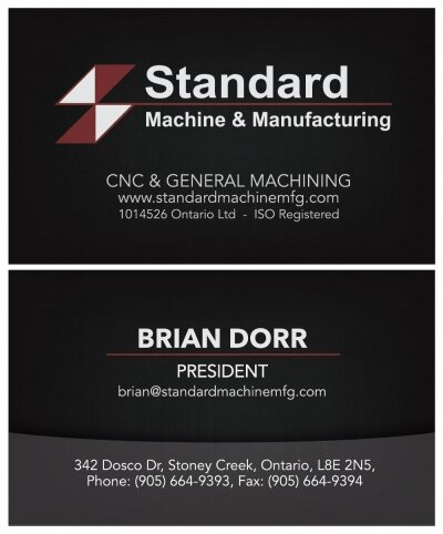 Standard Machine & Manufacturing Business Card